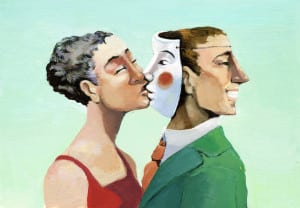 a woman kissing a mask instead of the man who has turned