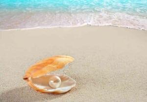 Caribbean pearl inside clam shell over white sand beach