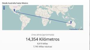 distancia que hay entre mexico y australia