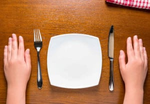 female hands near empty plate on the table