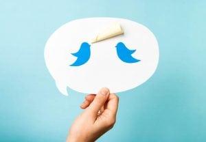 Blue bird on speech bubble