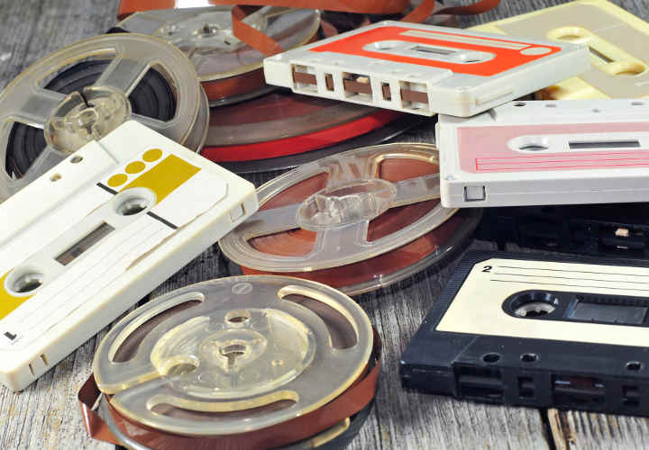 Photo of old music cassettes and tapes