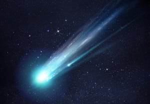 A large and bright Comet breaking up as it gets close to the Sun. Illustration