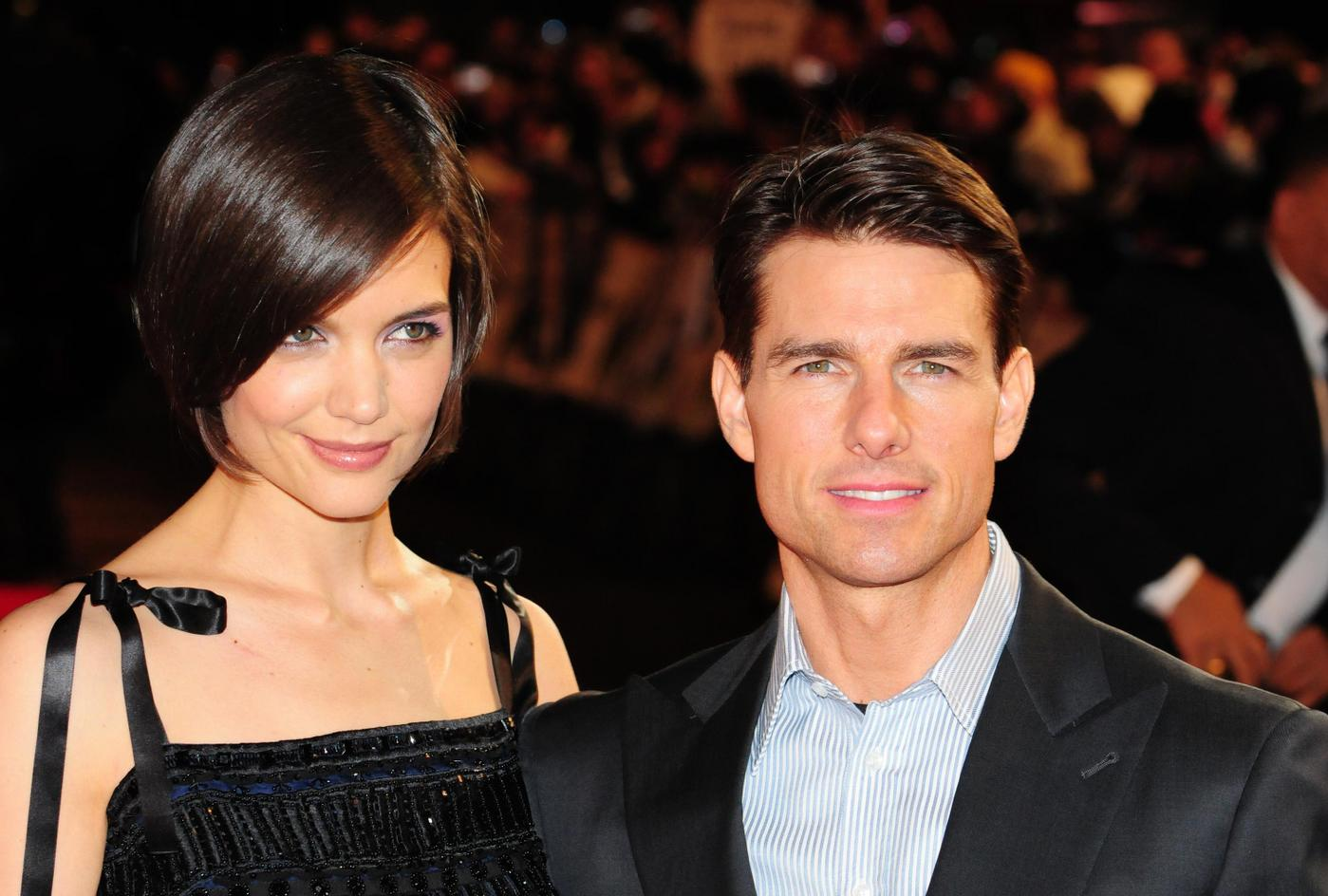 "Katie Holmes and Tom Cruise at the UK premiere of ""Valkyrie"" in London's Leicester Square"