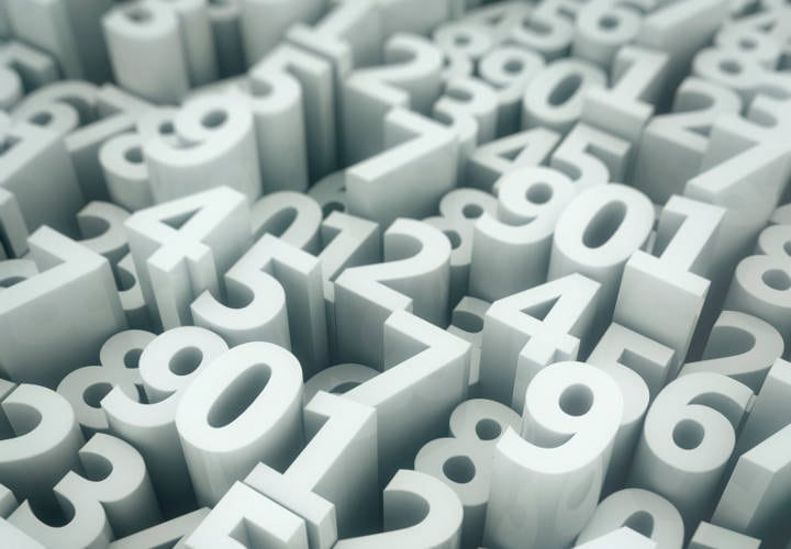 Array of extruded digits with shallow depth of field