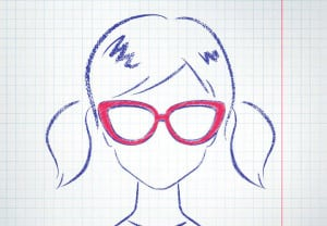 Female avatar drawn on checkered school notebook paper. Vector illustration.