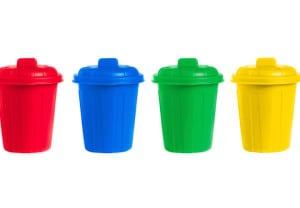 many color wheelie bins set, illustration of waste management concept
