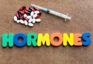 hormones colorful word in the wooden background