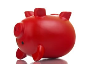 Piggy Bank Going Belly Up Representing Lost Savings