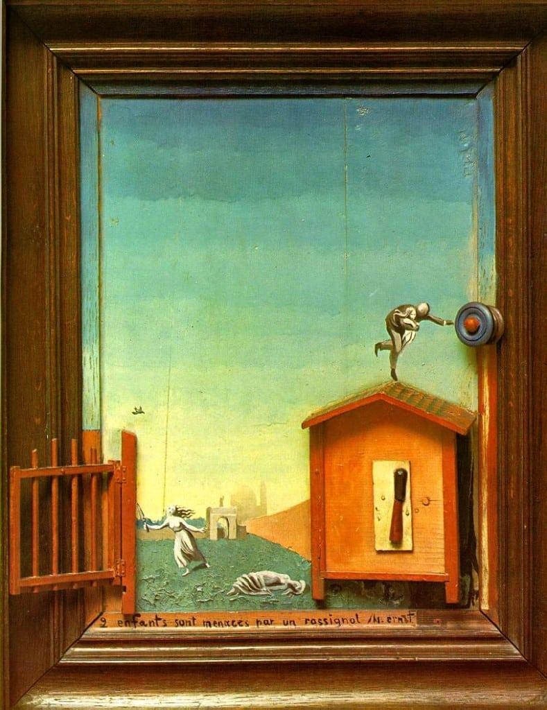 10. Dos niños amenazados por un ruiseñor de Max Ernst