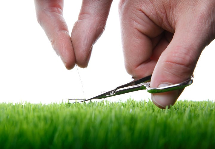 Young man cuts English lawn with a nail scissors