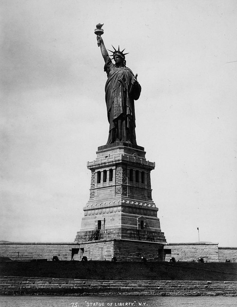 The Statue of Liberty on the Bedloe island in the bay of New York