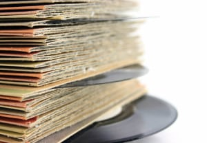 Close up of old Vinyl Records with shallow DOF