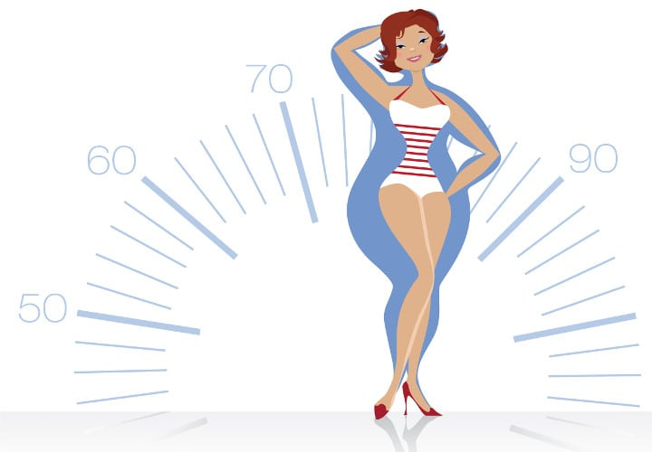 Vector illustration of a slenderizing women on scale background