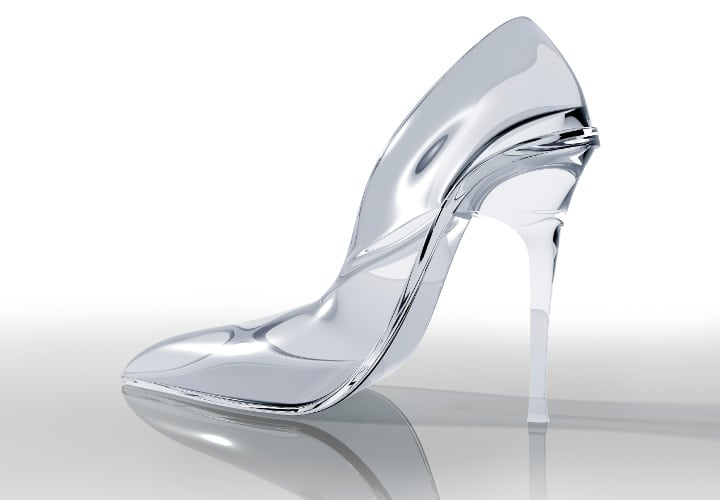 Illustration of an original glass slipper design fit for capturing a prince