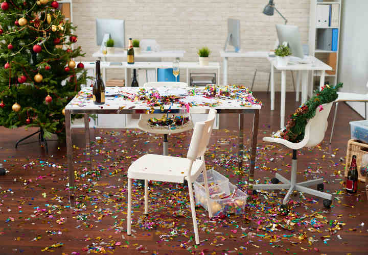 Office interior with confetti on the floor