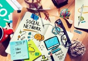 Social Network Social Media Office Desk Workplace Concept