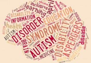 Illustration with word cloud on disease Autism