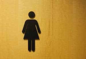 Female restroom or bathroom symbol on maple door.