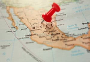 Map of Mexico with red push pin