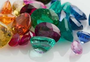 Real gems including sapphires, emeralds, rubies, tanzanite and tourmaline.