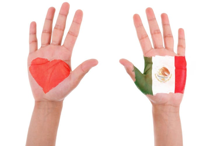 Hands with a painted heart and mexican flag, i love mexico concept, isolated on white background