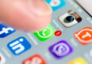 ISTANBUL - SEPTEMBER 18, 2015: Apple Iphone 6 screen with social media applications of Whatsapp, Facebook, Instagram, Viber, Linkedin, Tango, Perisfind and Snapchat.
