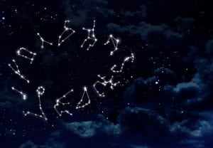 the zodiac sign of the beautiful bright stars on the background night sky