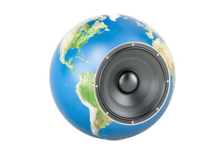 Global musical concept, Earth globe with loudspeaker. 3D rendering isolated on white background